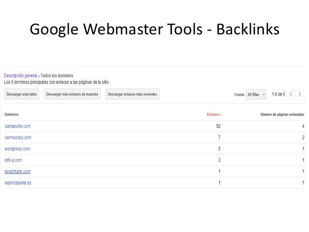 Google Webmaster Tools - Backlinks