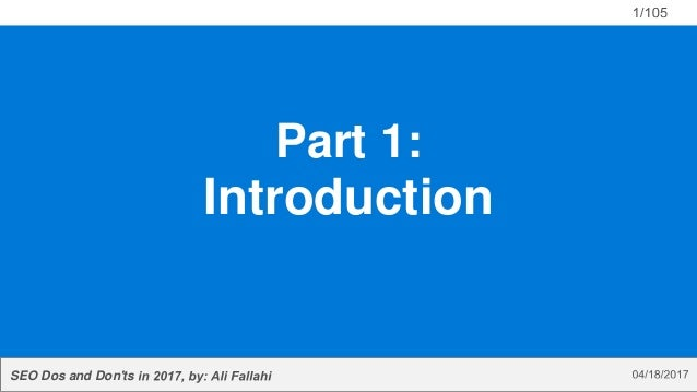 SEO Dos and Don'ts Part 1: Introduction