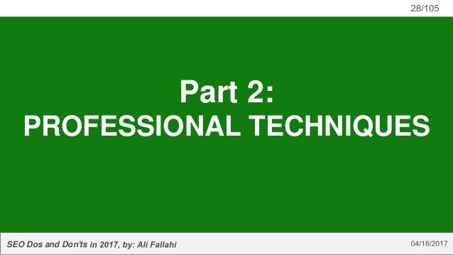 SEO Dos and Don'ts Part 2: PROFESSIONAL TECHNIQUES