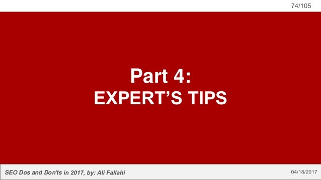 SEO Dos and Don'ts Part 4: EXPERT'S TIPS