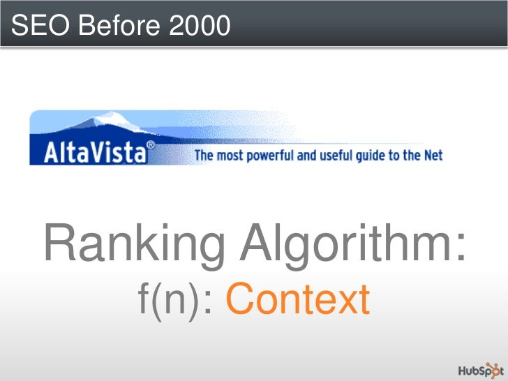 SEO Before 2000<br />Ranking Algorithm:f(n): Context<br />