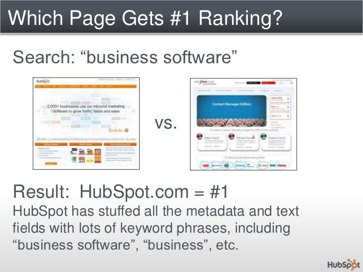 """Which Page Gets #1 Ranking?<br />Search: """"business software""""<br />vs.<br />Result:  HubSpot.com = #1<br />HubSpot has stuf..."""