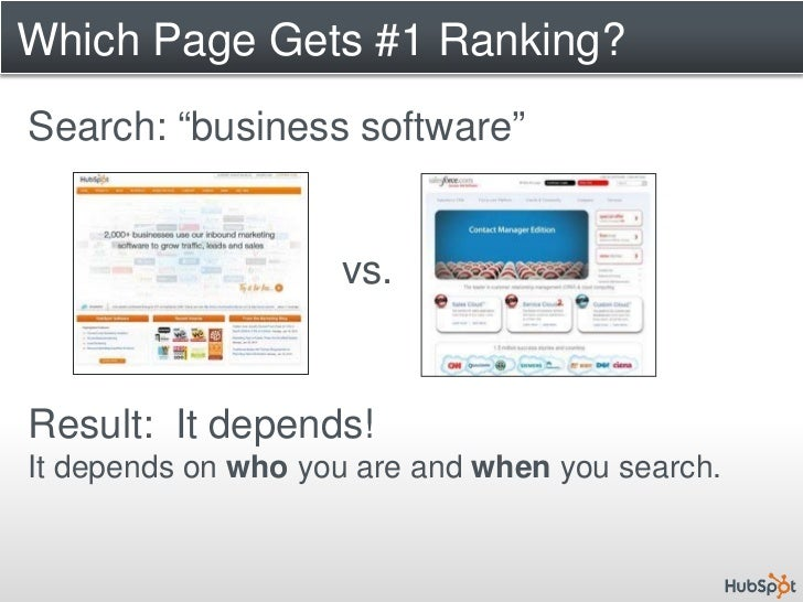 """Which Page Gets #1 Ranking? Search: """"business software""""                       vs.   Result: It depends! It depends on who ..."""