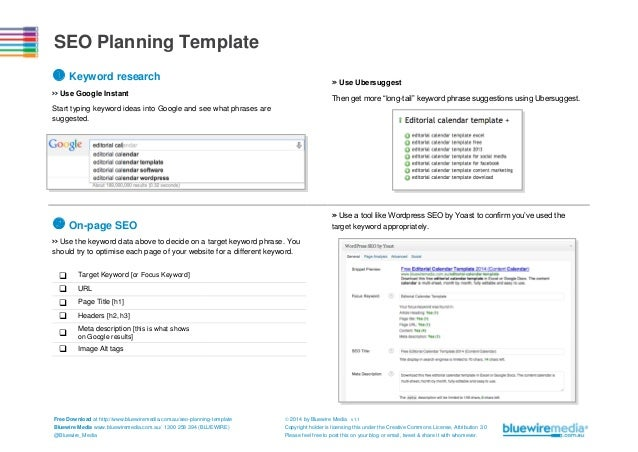 """SEO Planning Template  Keyword research  >> Use Ubersuggest  >> Use Google Instant  Then get more """"long-tail"""" keyword phr..."""