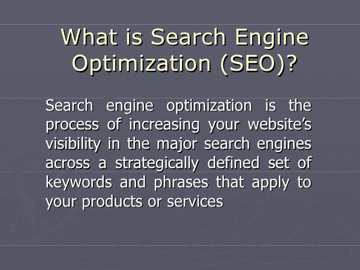 What is Search Engine    Optimization (SEO)? Search engine optimization is the process of increasing your website's visibi...
