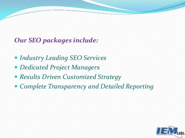 Our SEO packages include:  Industry Leading SEO Services  Dedicated Project Managers  Results Driven Customized Strateg...