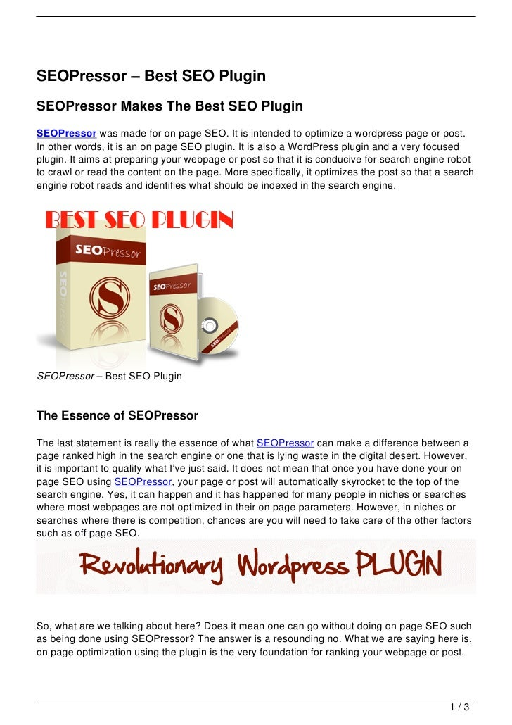 SEOPressor – Best SEO PluginSEOPressor Makes The Best SEO PluginSEOPressor was made for on page SEO. It is intended to opt...