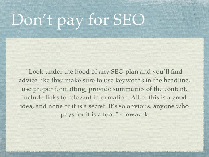 SEO: Optimizing Sites for People (and search engines) slideshare - 웹