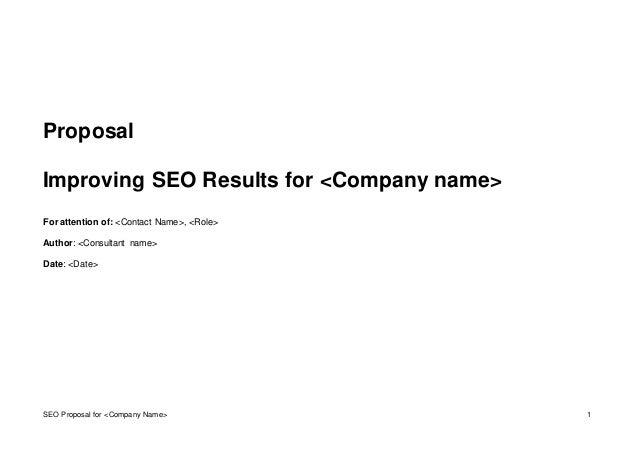 Seo proposal template seo proposal for company name 1 proposal improving seo results for company maxwellsz