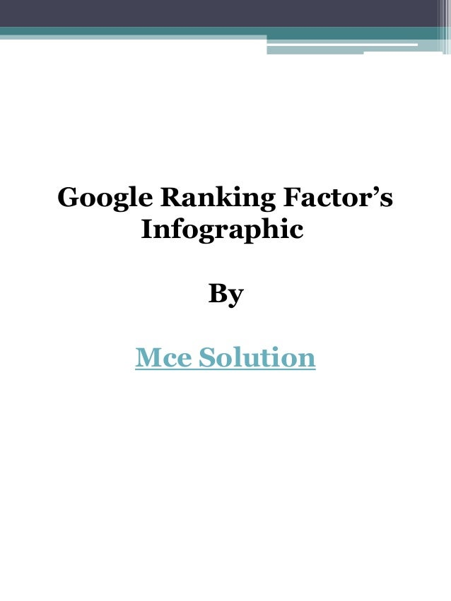Google Ranking Factor's Infographic By Mce Solution