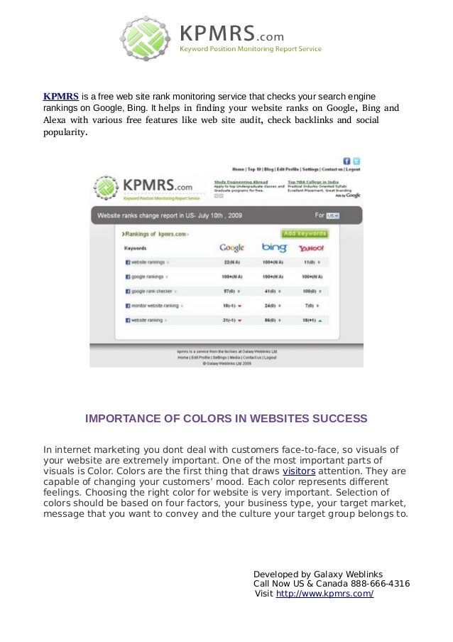 KPMRS is a free web site rank monitoring service that checks your search enginerankings on Google, Bing. It helps in findi...