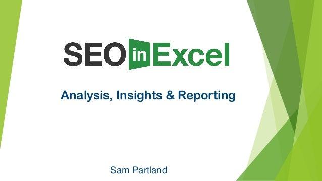 Sam Partland Analysis, Insights & Reporting
