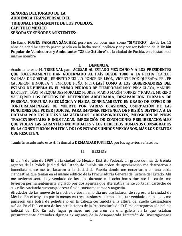 SEÑORES DEL JURADO DE LA AUDIENCIA TRANSVERSAL DEL TRIBUNAL PERMANENTE DE LOS PUEBLOS, CAPÍTULO MÉXICO. SEÑORAS Y SEÑORES ...