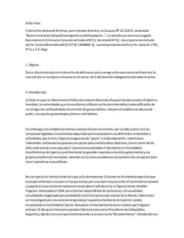 """SeñorJuez: CristinaFernándezde Kirchner,pormi propioderecho,enlacausa Nº 12.152/15 caratulada """"Banco Central de laRepúblic..."""