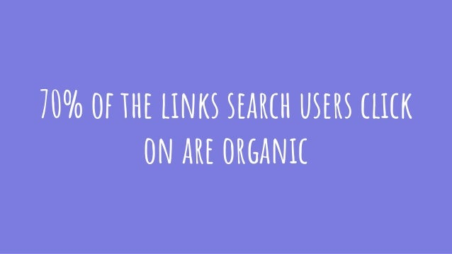 70% of the links search users click on are organic