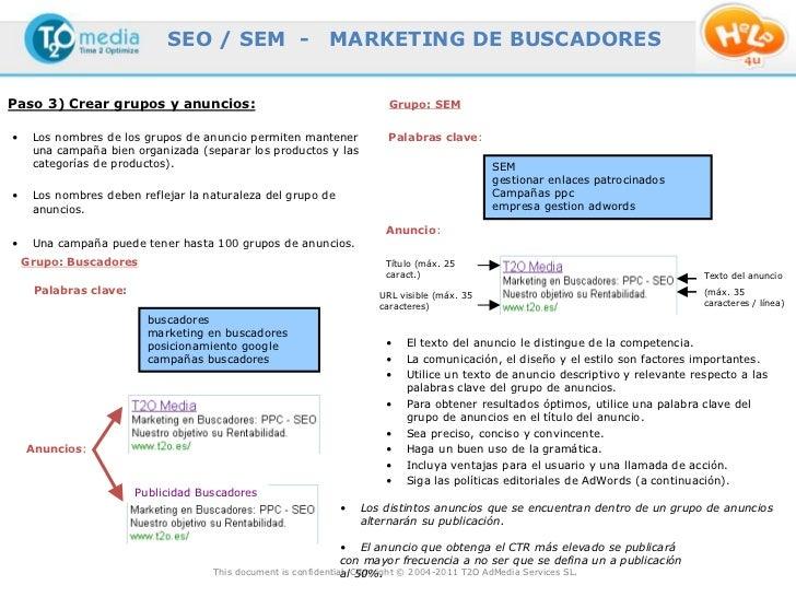 SEO / SEM -                  MARKETING DE BUSCADORESPaso 3) Crear grupos y anuncios:                                      ...