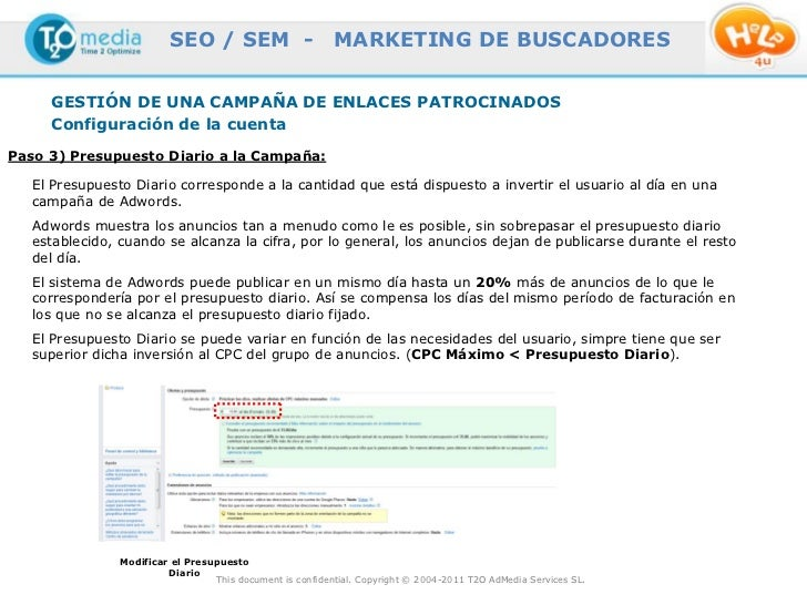 SEO / SEM -                      MARKETING DE BUSCADORES     GESTIÓN DE UNA CAMPAÑA DE ENLACES PATROCINADOS     Configurac...