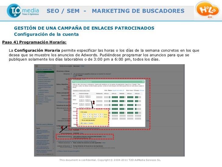 SEO / SEM -                    MARKETING DE BUSCADORES     GESTIÓN DE UNA CAMPAÑA DE ENLACES PATROCINADOS     Configuració...