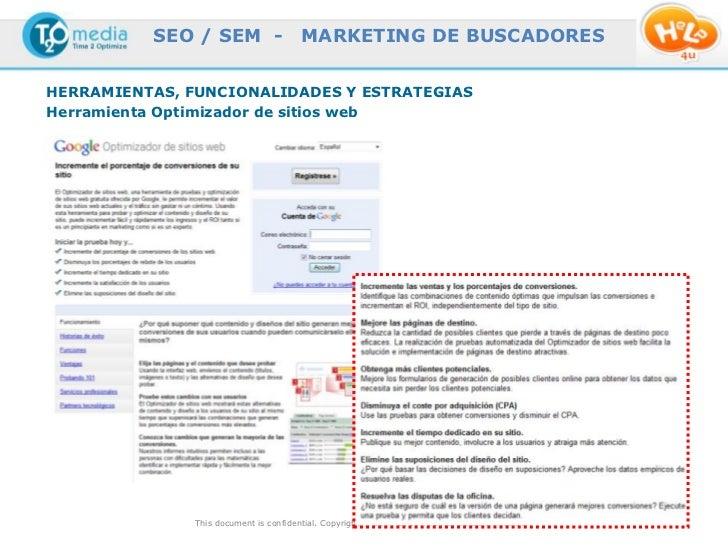 SEO / SEM -                  MARKETING DE BUSCADORESHERRAMIENTAS, FUNCIONALIDADES Y ESTRATEGIASHerramienta Optimizador de ...