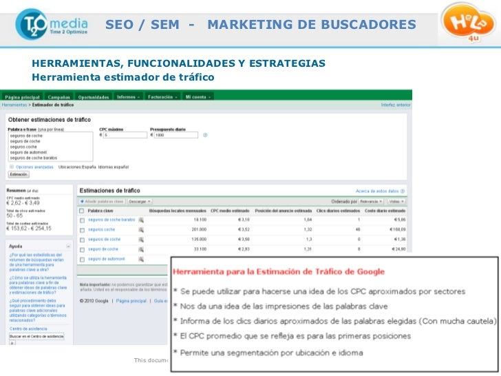 SEO / SEM -                  MARKETING DE BUSCADORESHERRAMIENTAS, FUNCIONALIDADES Y ESTRATEGIASHerramienta estimador de tr...