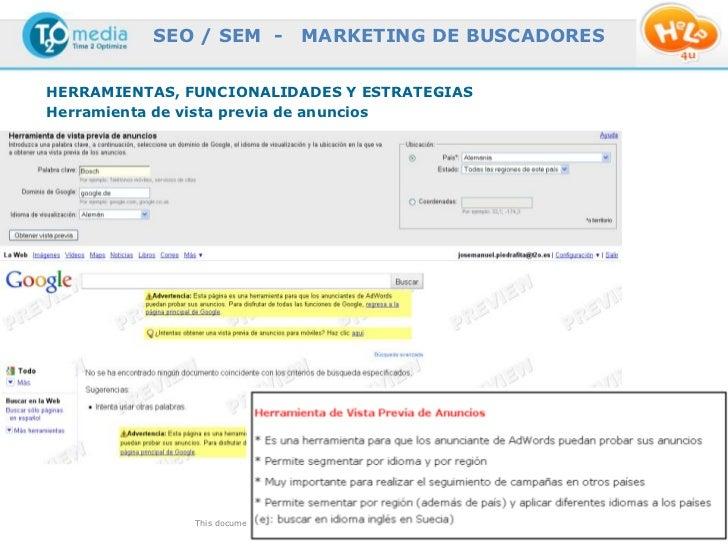 SEO / SEM -                  MARKETING DE BUSCADORESHERRAMIENTAS, FUNCIONALIDADES Y ESTRATEGIASHerramienta de vista previa...