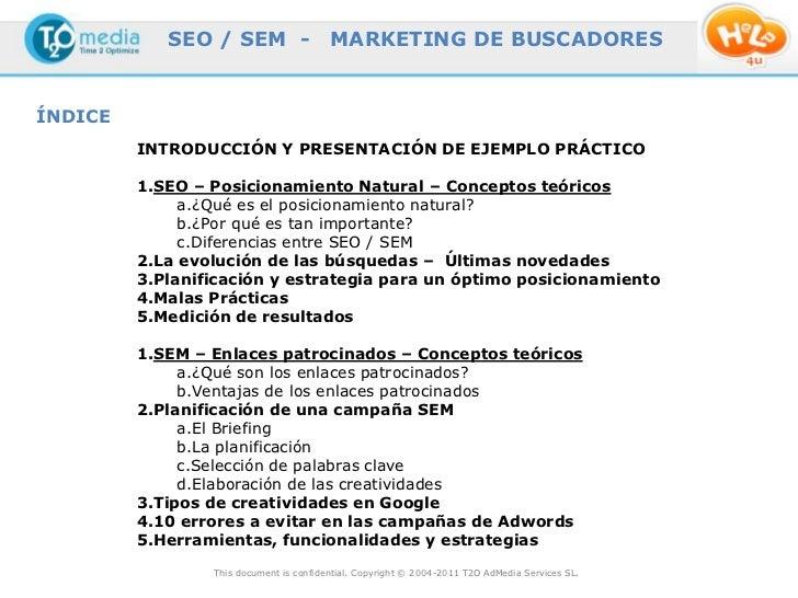 SEO / SEM -                  MARKETING DE BUSCADORESÍNDICE         INTRODUCCIÓN Y PRESENTACIÓN DE EJEMPLO PRÁCTICO        ...