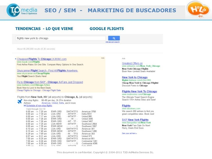 SEO / SEM -                  MARKETING DE BUSCADORESTENDENCIAS - LO QUE VIENE                  GOOGLE FLIGHTS             ...