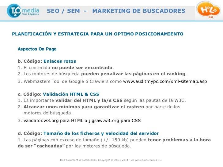 SEO / SEM -                    MARKETING DE BUSCADORESPLANIFICACIÓN Y ESTRATEGIA PARA UN OPTIMO POSICIONAMIENTO Aspectos O...