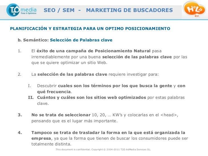 SEO / SEM -                   MARKETING DE BUSCADORESPLANIFICACIÓN Y ESTRATEGIA PARA UN OPTIMO POSICIONAMIENTO  b. Semánti...