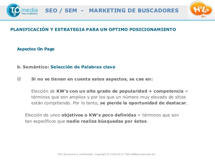 SEO / SEM -                    MARKETING DE BUSCADORESPLANIFICACIÓN Y ESTRATEGIA PARA UN OPTIMO POSICIONAMIENTO  Aspectos ...