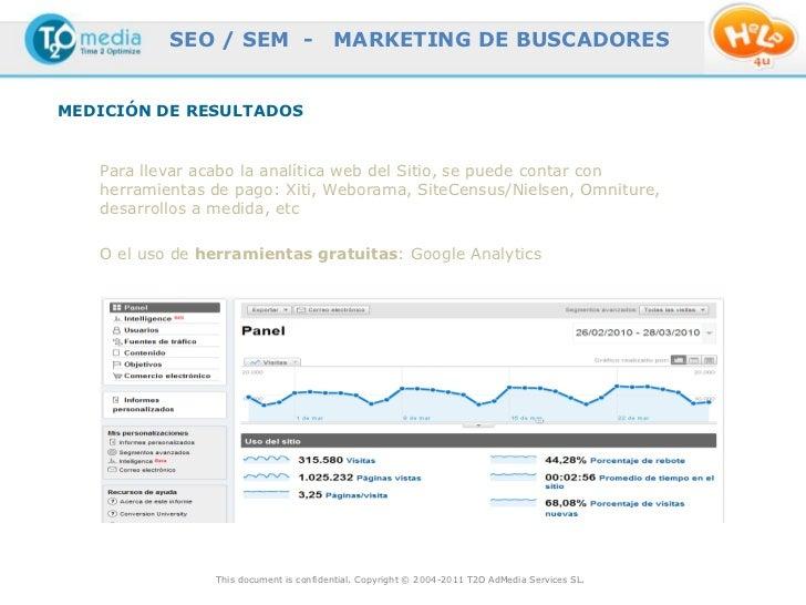 SEO / SEM -                  MARKETING DE BUSCADORESMEDICIÓN DE RESULTADOS   Para llevar acabo la analítica web del Sitio,...
