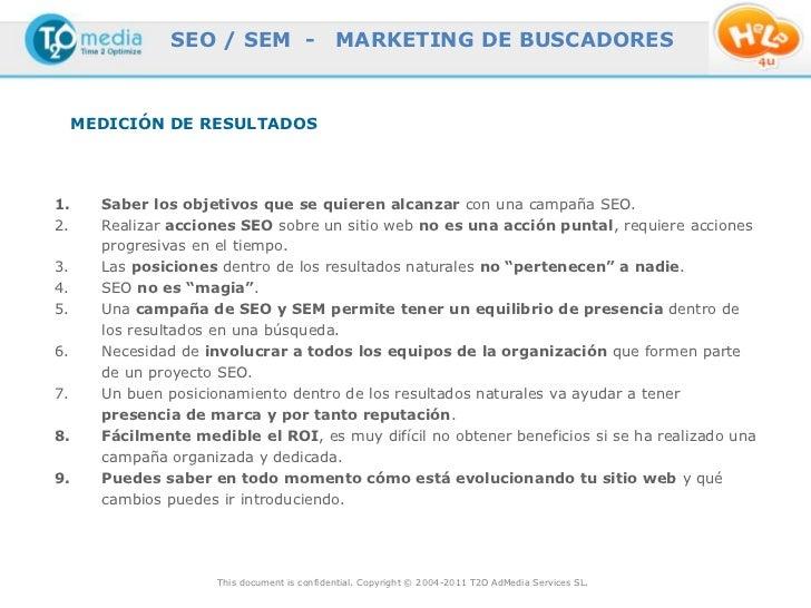 SEO / SEM -                   MARKETING DE BUSCADORES     MEDICIÓN DE RESULTADOS1.     Saber los objetivos que se quieren ...