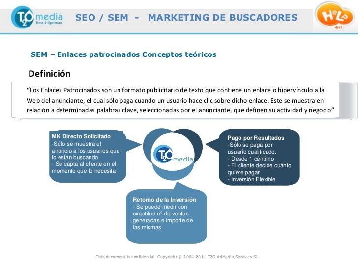 """SEO / SEM -                     MARKETING DE BUSCADORES SEM – Enlaces patrocinados Conceptos teóricosDefinición""""Los Enlace..."""