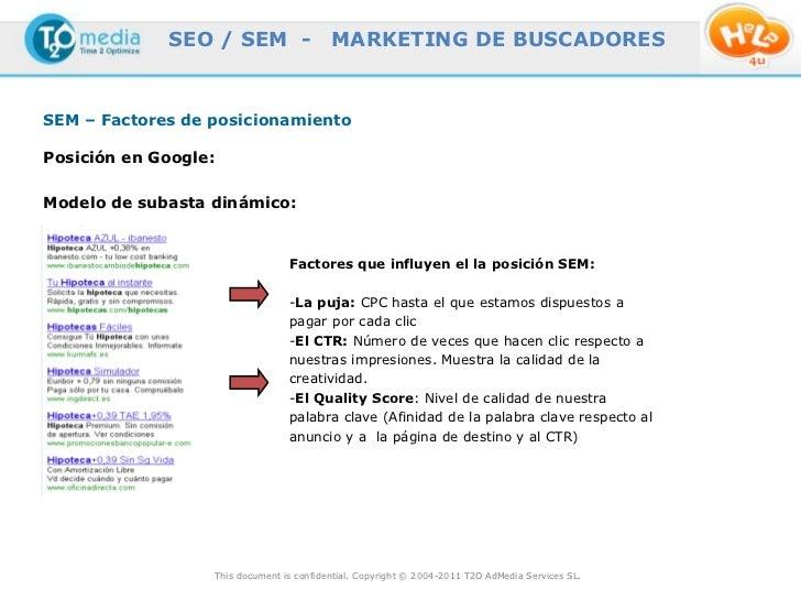SEO / SEM -                  MARKETING DE BUSCADORESSEM – Factores de posicionamientoPosición en Google:Modelo de subasta ...