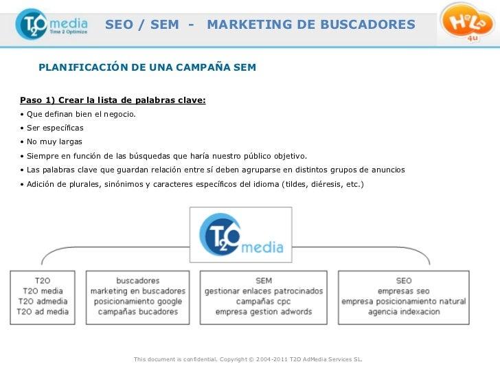 SEO / SEM -                    MARKETING DE BUSCADORES     PLANIFICACIÓN DE UNA CAMPAÑA SEMPaso 1) Crear la lista de palab...