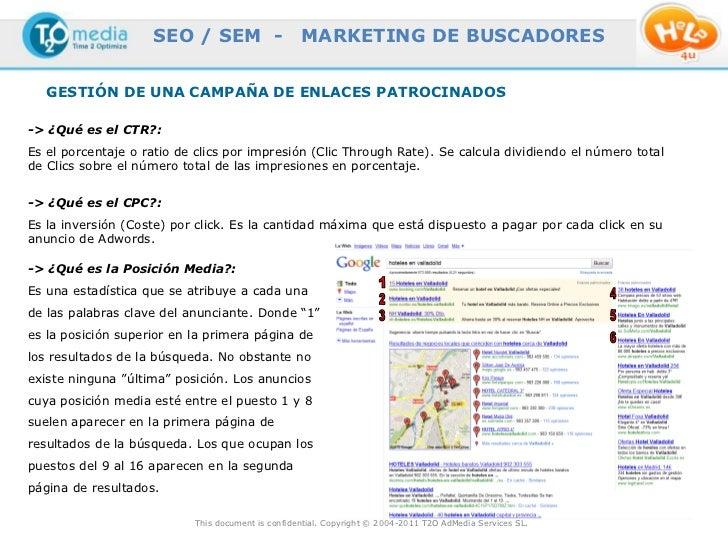 SEO / SEM -                    MARKETING DE BUSCADORES   GESTIÓN DE UNA CAMPAÑA DE ENLACES PATROCINADOS-> ¿Qué es el CTR?:...
