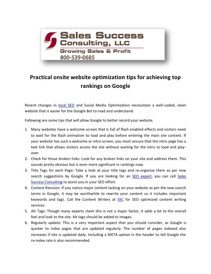 Practical onsite website optimization tips for achieving top                       rankings on GoogleRecent changes in loc...