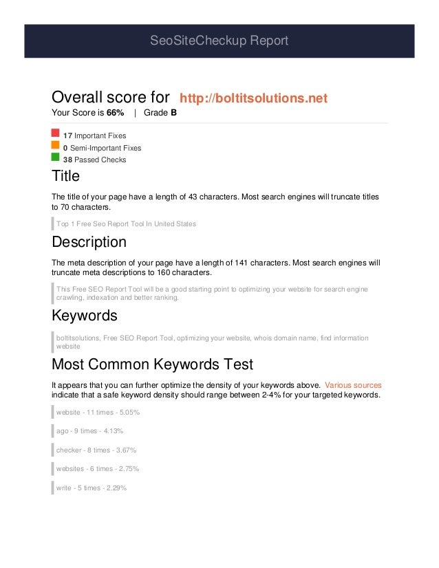 SeoSiteCheckup Report Overall score for http://boltitsolutions.net Your Score is 66% | Grade B 17 Important Fixes 0 Semi-I...