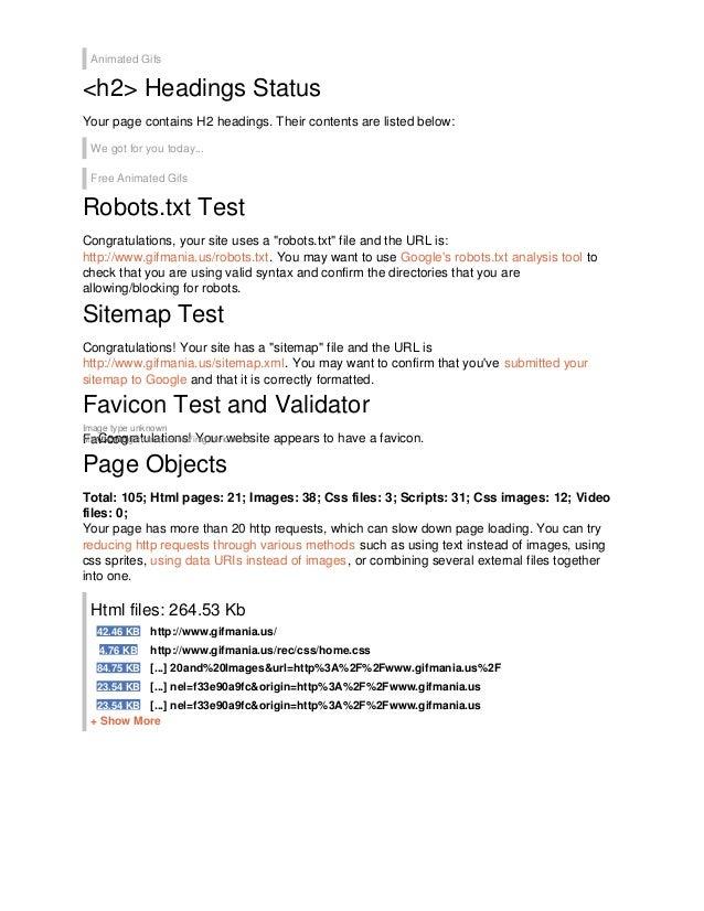 seo analisys of www gifmania us
