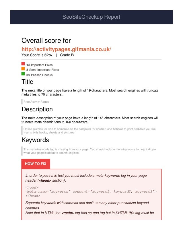 SeoSiteCheckup Report Overall score for http://activitypages.gifmania.co.uk/ Your Score is 62% | Grade B 18 Important Fixe...