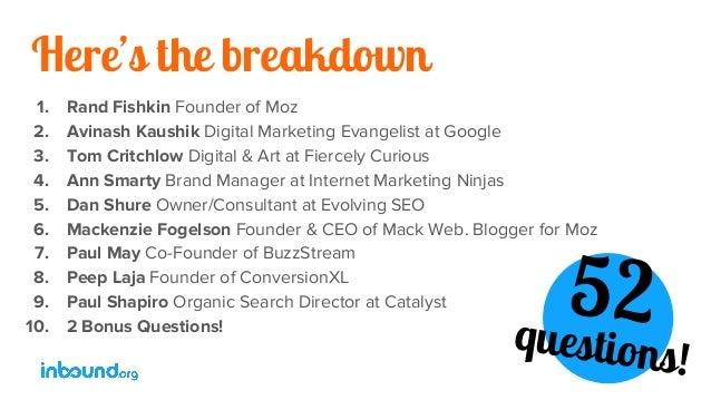 Here's the breakdown 1. Rand Fishkin Founder of Moz 2. Avinash Kaushik Digital Marketing Evangelist at Google 3. Tom Critc...