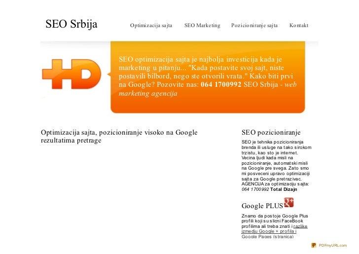SEO Srbija                  Optimizacija sajta   SEO Marketing   Pozicioniranje sajta         Kontakt                     ...