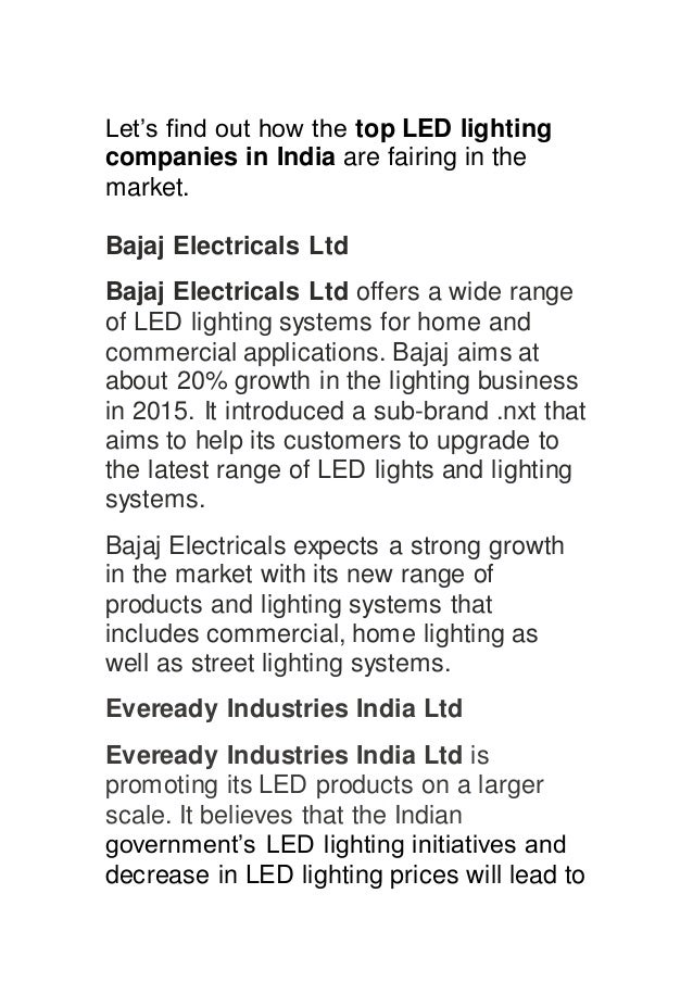 Top 10 Led Manufacturers In India