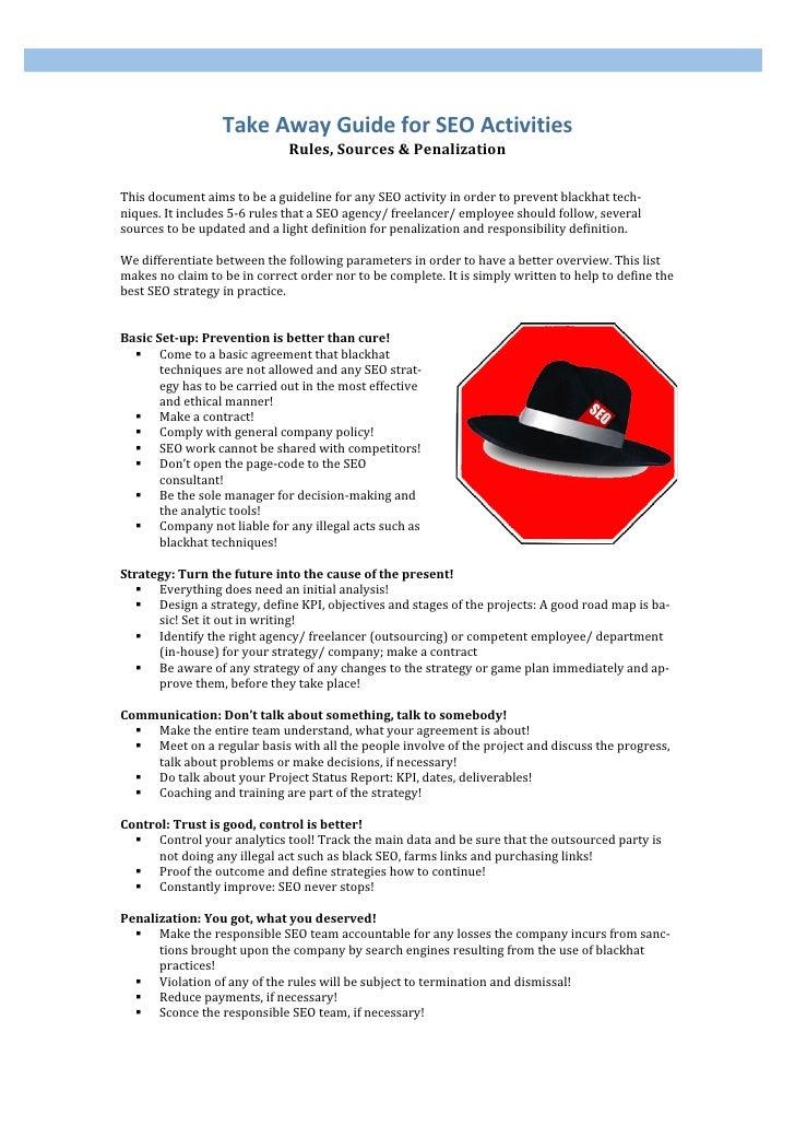 TakeAwayGuideforSEOActivities                               Rules,Sources&Penalization   Thisdocumentaimsto...