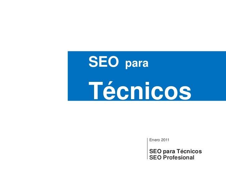 SEOpara<br />Técnicos<br />Enero 2011SEO paraTécnicos<br />SEO Profesional<br />