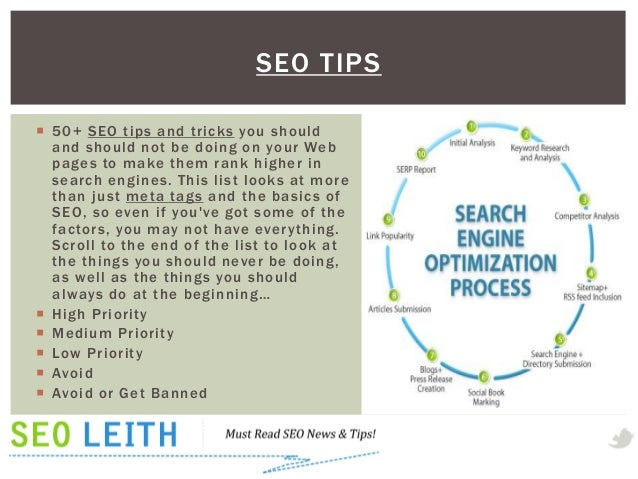 SEO TIPS 50+ SEO tips and tricks you should  and should not be doing on your Web  pages to make them rank higher in  sear...
