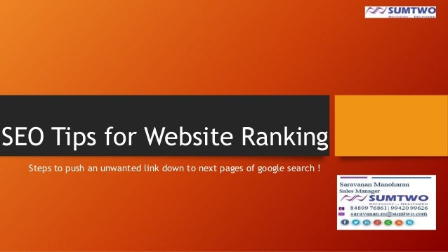 SEO Tips for Website Ranking Steps to push an unwanted link down to next pages of google search !