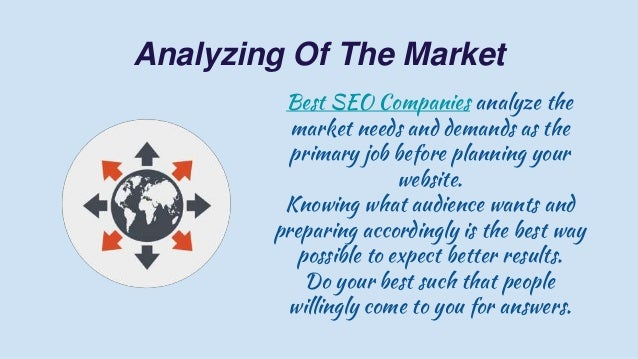 Analyzing Of The Market Best SEO Companies analyze the market needs and demands as the primary job before planning your we...