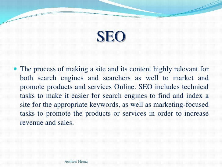 SEO<br />The process of making a site and its content highly relevant for both search engines and searchers as well to mar...