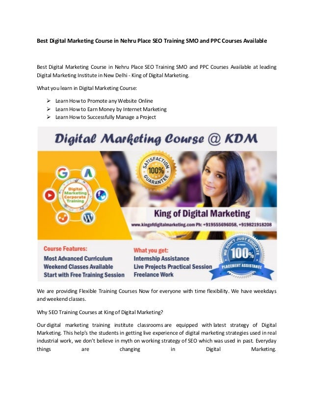 Best Digital Marketing Course in Nehru Place SEO Training SMO and PPC Courses Available Best Digital Marketing Course in N...